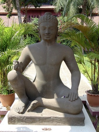 Yama, central courtyard of the National Museum in Phnom Penh. The figure is also known as the Leper King.